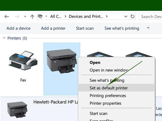 Set your HP printer as the default device