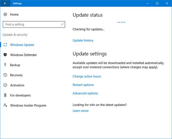 Install the Updates on Windows 10